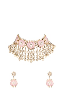 Gold Plated Rose Pink Pearls & Kundan Necklace set by Moh-Maya by Disha Khatri