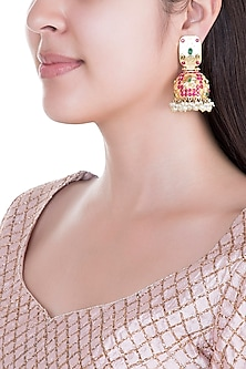 Gold Plated Emerald, Hot Pink Stones & Pearls Jhumka Earrings by Moh-Maya by Disha Khatri