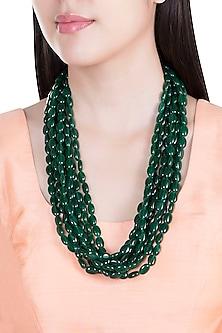 Green Emerald Beaded Layered Necklace by Moh-Maya by Disha Khatri