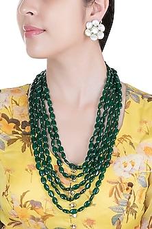 Green Four-Line Emerald Necklace Set by Moh-Maya by Disha Khatri