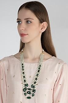 Emerald & Pearl Layered Necklace by Moh-Maya by Disha Khatri