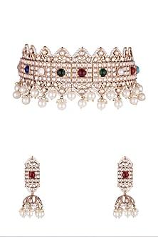 Gold Finish Pearl & Kundan Necklace Set by Moh-Maya by Disha Khatri