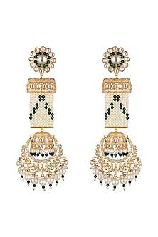 Gold Finish Green Bead & Kundan Long Earrings by Moh-Maya by Disha Khatri