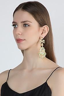 Gold Finish Meenakari Chandbali Earrings by Moh-Maya by Disha Khatri