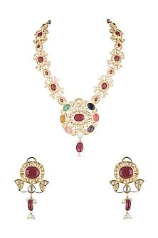 Gold Finish Kundan Long Necklace Set by Moh-Maya by Disha Khatri