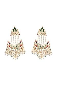 Gold Finish Pearls & Stone Chandbali Earrings by Moh-Maya by Disha Khatri