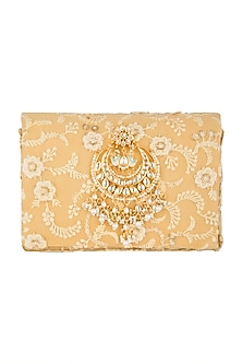 Golden Chikankari Embroidered Clutch by Moh-Maya by Disha Khatri