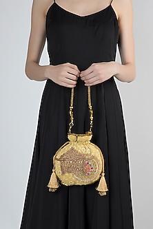 Golden Chikankari Embroidered Potli by Moh-Maya by Disha Khatri