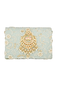 Light Blue Chikankari Embroidered Clutch by Moh-Maya by Disha Khatri