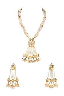Gold Finish Kundan & Pearls Long Necklace Set by Moh-Maya by Disha Khatri