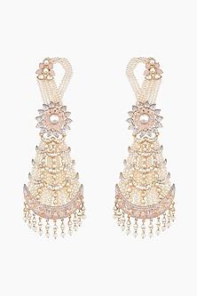 Gold Finish Kundan & Pearls Chandbali Earrings by Moh-Maya by Disha Khatri