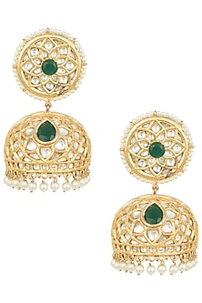 Gold plated long emerald jhumki earrings by MOH-MAYA BY DISHA KHATRI