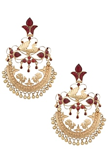 Gold plated long red chandbali earrings by MOH-MAYA BY DISHA KHATRI