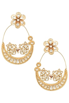Gold plated pachi kundan chandbali earrings by MOH-MAYA BY DISHA KHATRI