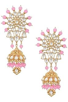 Gold plated rose pink stone and pachi kundan jhumka earrings by MOH-MAYA BY DISHA KHATRI