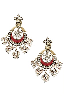 Gold plated polki, pearl and red stone long chandbali earrings by MOH-MAYA BY DISHA KHATRI