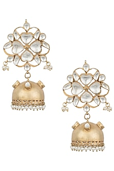 Gold plated polki, pearl and stone long jhumka earrings by MOH-MAYA BY DISHA KHATRI