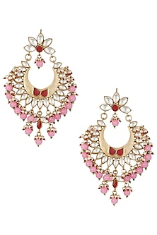 Gold plated pearl and pink stone long chandbali earrings by MOH-MAYA BY DISHA KHATRI
