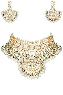 Gold plated pearl and kundan choker necklace set by MOH-MAYA BY DISHA KHATRI