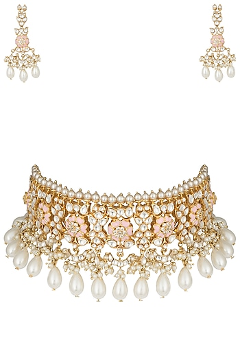 Gold plated rose pink pearl choker necklace set by MOH-MAYA BY DISHA KHATRI