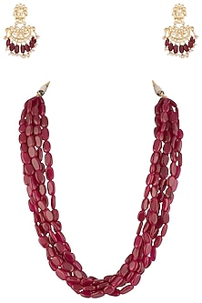 Gold plated ruby necklace set by MOH-MAYA BY DISHA KHATRI