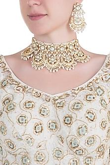 Gold plated pearl aqua blue choker necklace set by MOH-MAYA BY DISHA KHATRI