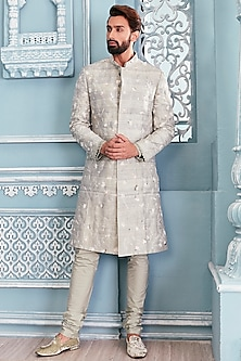 Jade Green Embellished Sherwani Set by Mahima Mahajan Men