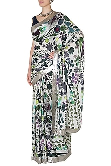 Ivory Printed Sequins Saree with Royal Blue Raw Silk Blouse by Manish Malhotra