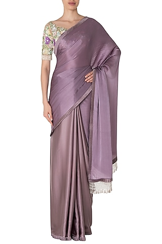 Lilac Tassels Saree with Ivory Sequins Embroidered Blouse Set by Manish Malhotra