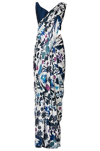 Ivory Printed Tassels Saree with Navy Blue Blouse Piece by Manish Malhotra