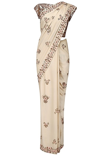 Cream and Peach Flower Buttis Saree with Blouse Piece by Manish Malhotra