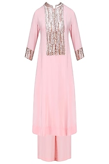 Pink Gold Sequins Embroidered Kurta Set with Grey and Aqua Blue Dupatta by Manish Malhotra
