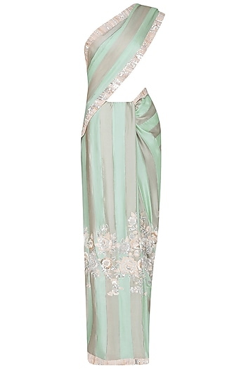 Aqua Blue Resham and Sequins Embroidered Saree by Manish Malhotra