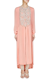 Peach Pearl Embroidered Tunic by Manish Malhotra