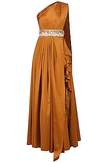 Rust One Shoulder Drape Gown with Embroidered Waistband by Manish Malhotra
