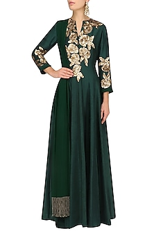 Emerald Green Sequins Rose Flower Embroidered Kalidaar Set by Manish Malhotra