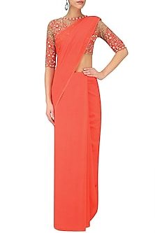 Coral Shaded Fringes Saree with Nude Sequin Embroidered Blouse by Manish Malhotra