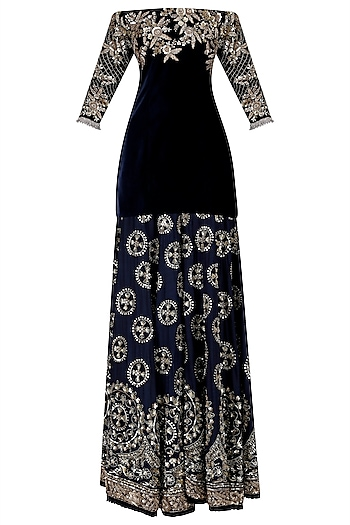 Navy Blue Chikankari Lehenga Skirt with Off Shoulder Blouse by Manish Malhotra