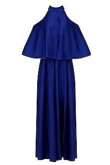 Royal Blue Cold Shoulder Jumpsuit by Manish Malhotra