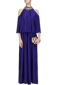 Royal Blue Cold Shoulder Jumpsuit by Manish Malhotra