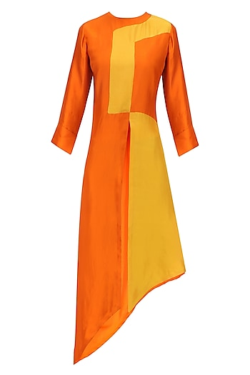 Mustard and Rust Patched Asymmetric Tunic by Manish Malhotra