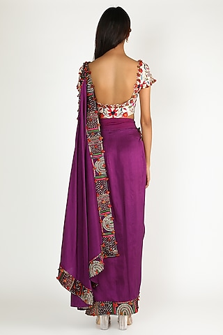 Purple Embroidered Draped Saree Set by Minaxi Dadoo