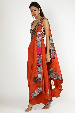 Orange Embroidered Draped Saree Set by Minaxi Dadoo