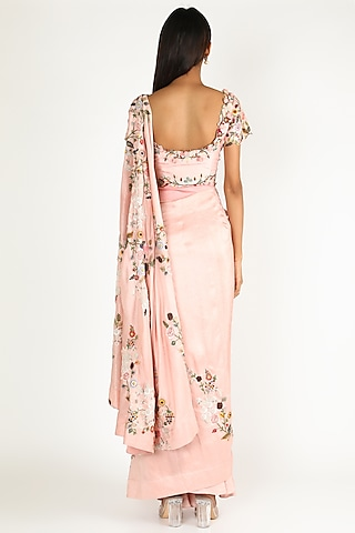 Pink Embroidered Draped Saree Set by Minaxi Dadoo
