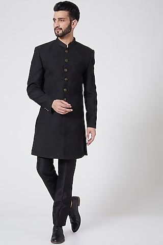 Black Sherwani Set by Manish Nagdeo