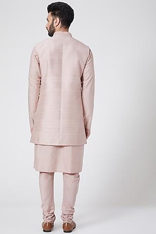 Light Pink Embroidered Sherwani Set by Manish Nagdeo
