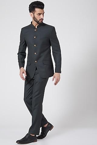 Basil Green Bandhgala Jacket Set by Manish Nagdeo