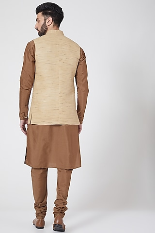 Beige Embroidered Jacket Set by Manish Nagdeo