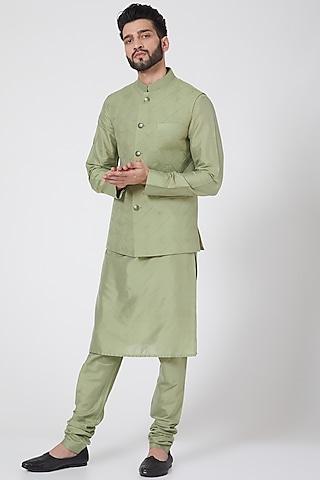 Olive Green Nehru Jacket Set by Manish Nagdeo