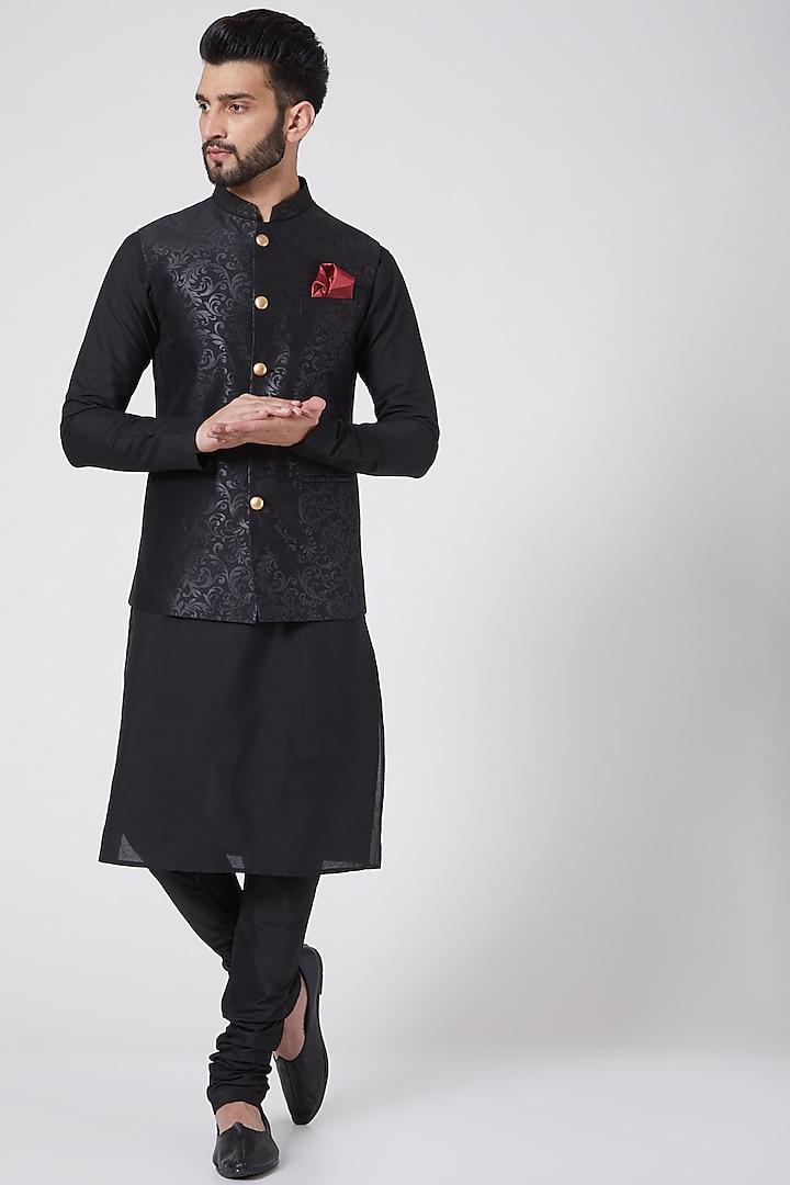 Black Kurta Set With Printed Jacket by Manish Nagdeo